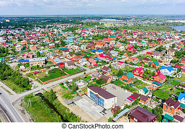 Aerial view of houses on housing estates Tyumen - Aerial...