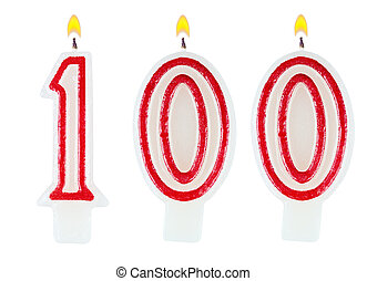 Birthday candles number one hundred isolated on white...
