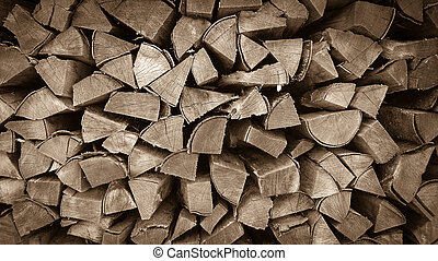 Neatly stacked wood as background, horizontal