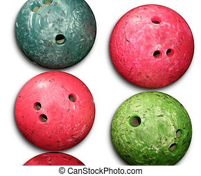 Bowling balls red an green isolated on white background