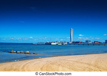 Swedish Malmo West Harbor Area Cityscape with Turning Torso...