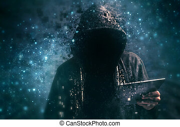 Pixelated unrecognizable hooded cyber criminal - Pixelated...