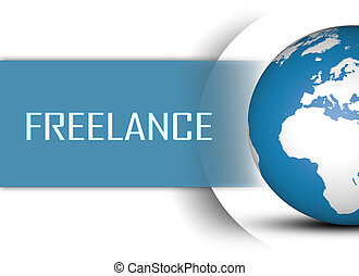 Freelance concept with globe on white background