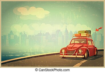 Vacation and Travel - Stylized retro vector illustration on...