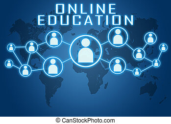 Online Education concept on blue background with world map...