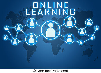 Online Learning concept on blue background with world map...