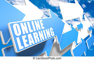 Online Learning 3d render concept with blue and white arrows...