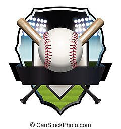 Baseball Badge Illustration - An illustration of a baseball,...