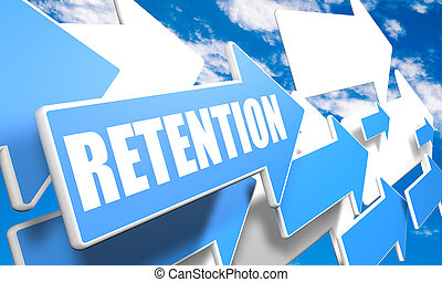Retention - 3d render concept with blue and white arrows...