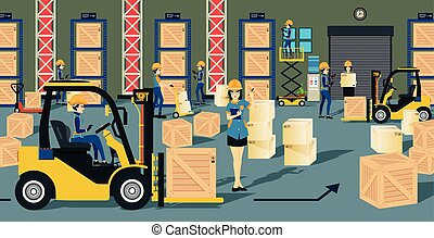 warehouse - The storage warehouse worker and a forklift.