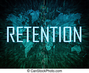 Retention text concept on green digital world map background...