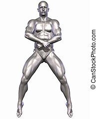 Silver Bodybuilder - 3D Render of an Silver Bodybuilder