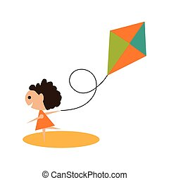 Flat with shadow icon and mobile application Girl kite