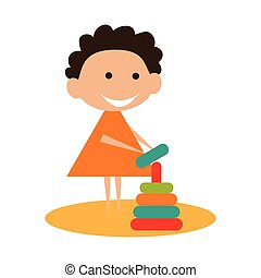 Flat with shadow icon and mobile application child playing...