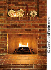 Brick Fireplace - Simple clean brick fireplace with a single...