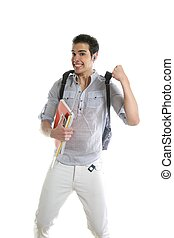 Happy student jump with college stuff in hand
