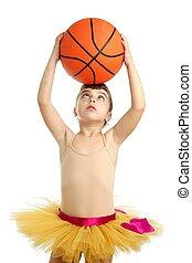 bailarina, poco, niña, baloncesto, Pelota