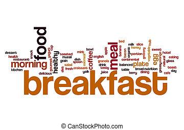 frukost, begrepp, ord, moln