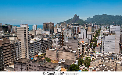 Skyline of Ipanema District in Rio de Janeiro from the...
