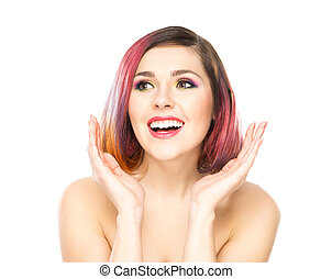 Beautiful young surprised woman on isolated background.