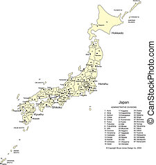Japan with Cities, Capital and Administrative Districts -...