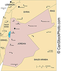 Jordan, Major Cities and Capital and Surrounding Countries -...
