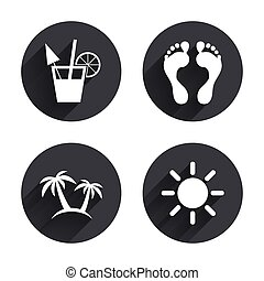 Beach holidays icons. Cocktail, human footprints and palm...