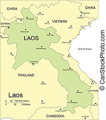 Laos, Major Cities and Capital and Surrounding Countries -...