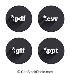 Document signs File extensions symbols - Document icons File...