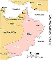 Oman, Major Cities and Capital and Surrounding Countries -...