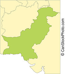 Pakistan and Surrounding Countries - Pakistan, editable...