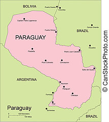 Paraguay, Major Cities and Capital and Surrounding Countries...