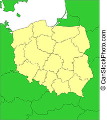 Poland with Administrative Districts and Surrounding Countries
