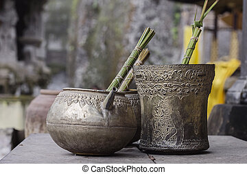 Old metal bowls - Antique metal bowls in old indonesian...