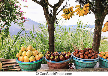 Exotic fruit market - Open air fruit market in indonesian...