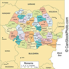 Romania with Administrative Districts and Surrounding...