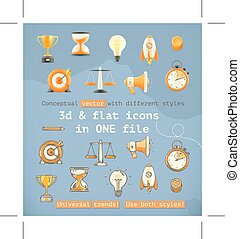 Set with 3d and flat icons, conceptual vector with different...