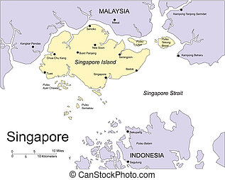 Singapore, Major Cities and Capital and Surrounding Countries