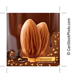 Almonds on chocolate background