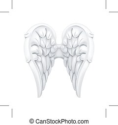 White Angel wings - White Angel wings, isolated on white...