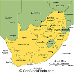 South Africa with Administrative Districts and Surrounding...