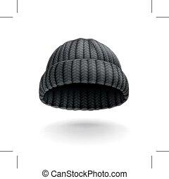 Beanie  - Beanie, black cap, vector icon
