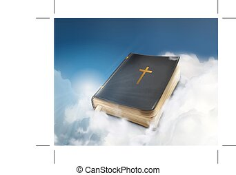 Vintage Bible in the clouds - Bible, vintage book