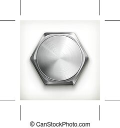 Metallic bolt icon - Metallic bolt, icon, isolated on white...
