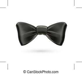 Black bow tie, vector icon, isolated on white background