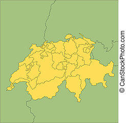 Switzerland with Administrative Districts and Surrounding...