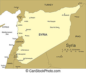 Syria, Major Cities and Capital and Surrounding Countries -...