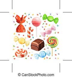Multi colored candies - Set with multi colored candies,...