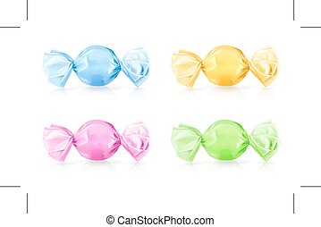 Multi Colored Candies, icons, isolated on white background