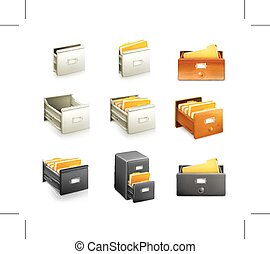 Card catalogs icons - Set with card catalogs icons, isolated...